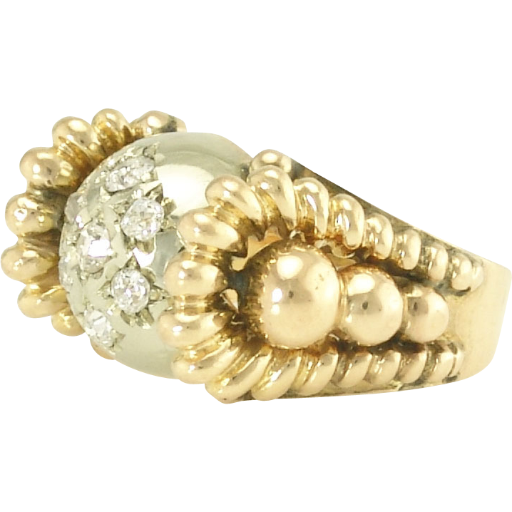 Whimsical Retro Diamond Rose and White 18k Gold Ring