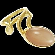 Vintage 14k Gold Moonstone Ring - Moderne Artisan circa 1970