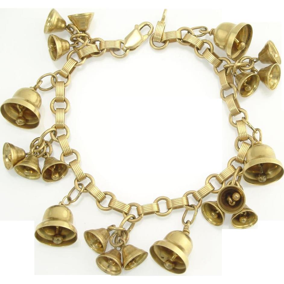 Vintage 14k Gold Articulated Musical Bell Charm Bracelet