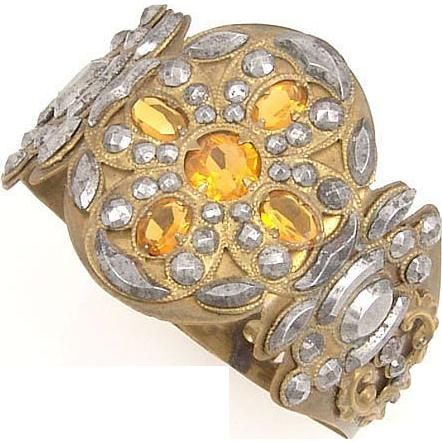 Antique Cut Steel Faceted Amber Glass Bracelet
