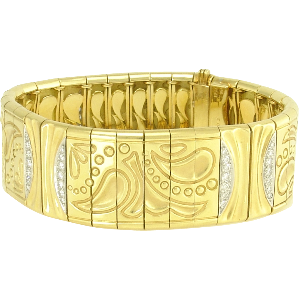 Michael Bondanza Diamond 18k Gold Platinum Paisley Bracelet