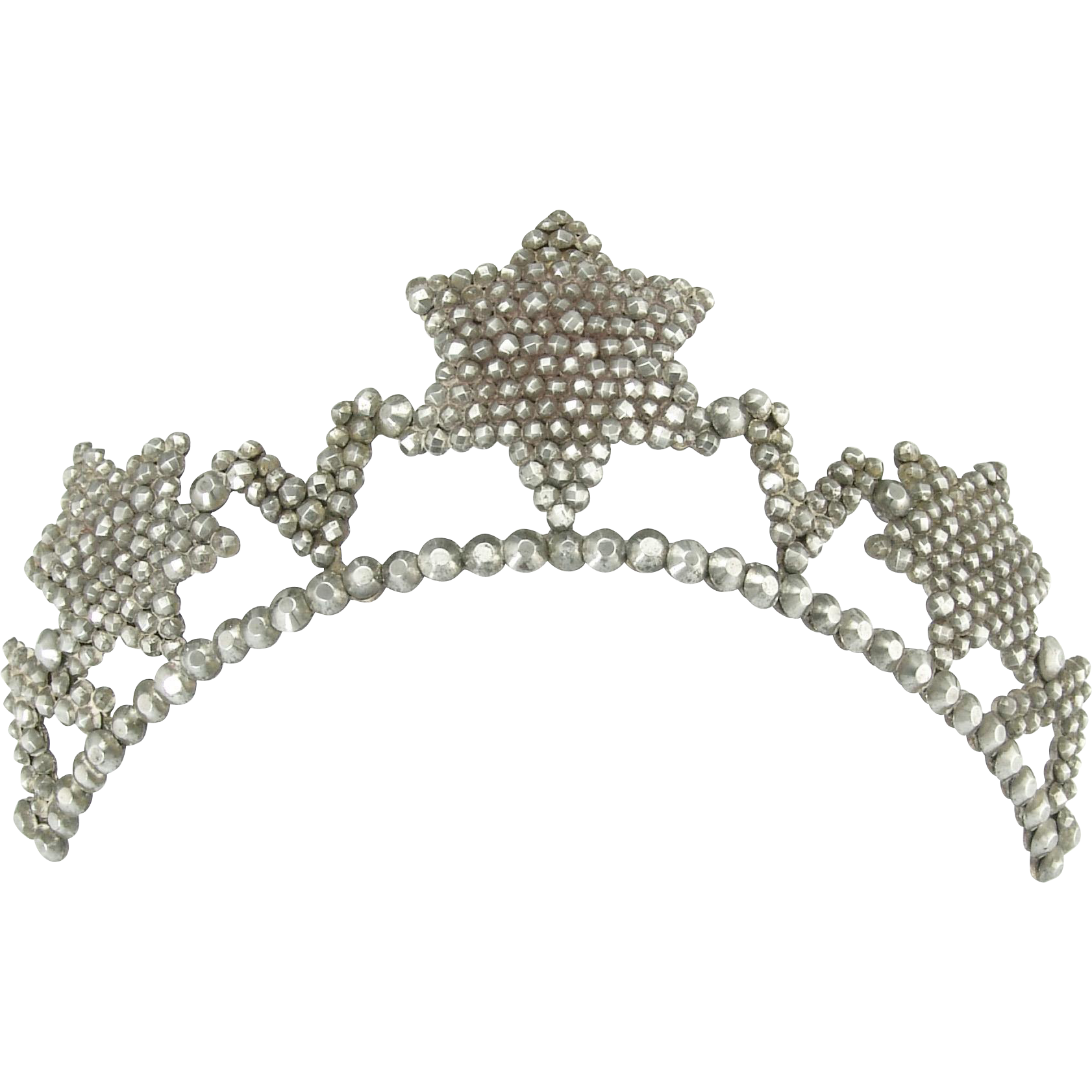 Antique Georgian Cut Steel Star Tiara with Tortoise Comb
