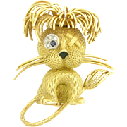 Whimsical 1960s Fred Figural Gem-Set Lion Brooch in 18k