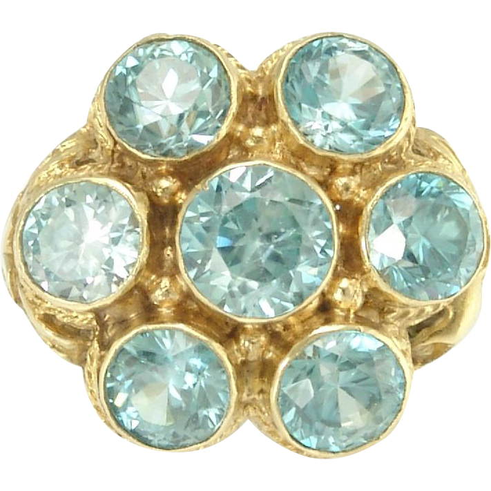 Sparkling 1930s Blue Zircon Ring in 14k Gold