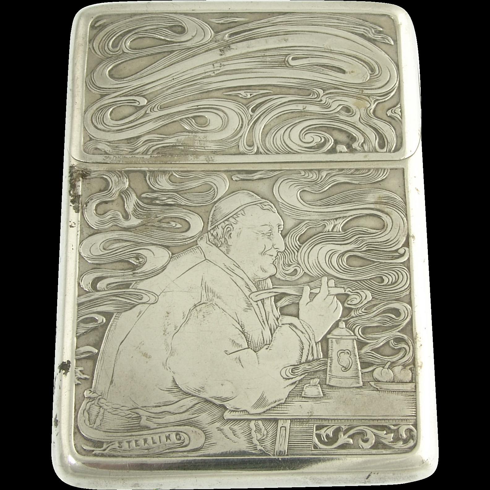 Antique Art Nouveau Sterling Silver Calling Card Case