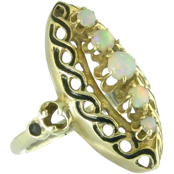 Charming Vintage Opal and Enamel 14k Gold Ring