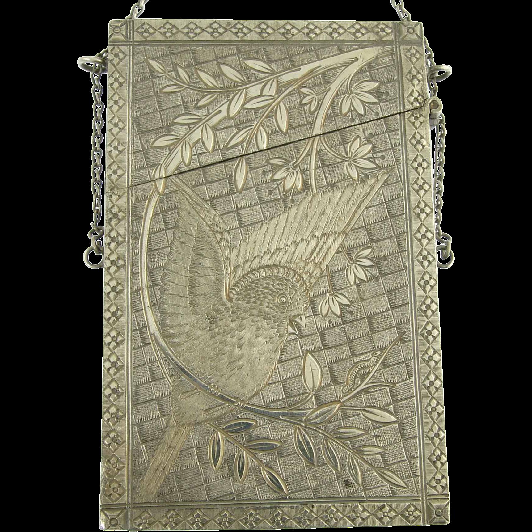 Beautiful Vintage Silver Hummingbird Calling Card Case
