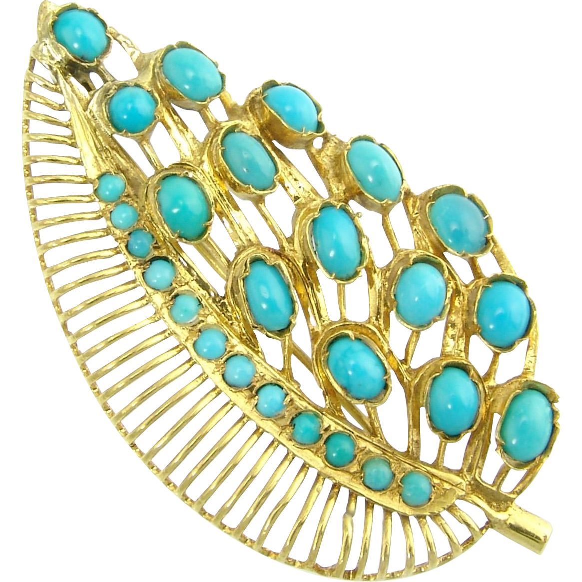 Large Vintage Persian Turquoise 18k Yellow Gold Filigree Leaf Brooch