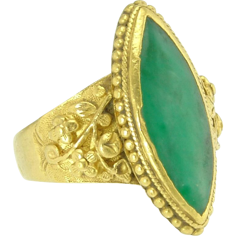 Antique Chinese Green Jade 22k Gold Navette Flower Ring