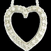 Vintage Diamond White Gold Heart Pendant
