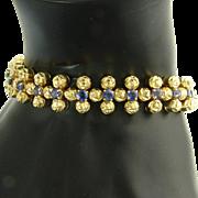 Vintage Tiffany Blue Sapphire 18k Gold Bracelet - Designer Signed