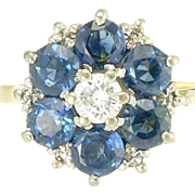 Vintage English Blue Sapphire Diamond 18k Yellow White Gold Halo Flower Ring