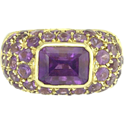 Luscious Estate Salavetti Amethyst and 18k Yellow Gold Ring