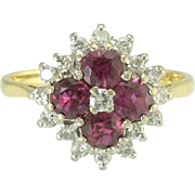 Vintage English Ruby Diamond 18k Yellow White Gold Flower Ring