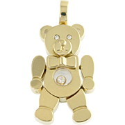 Vintage Chopard Happy Diamond Figural 18k Gold Teddy Bear with Bow Tie