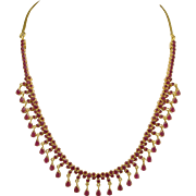 Vintage Ruby 22k Gold Fringe Necklace