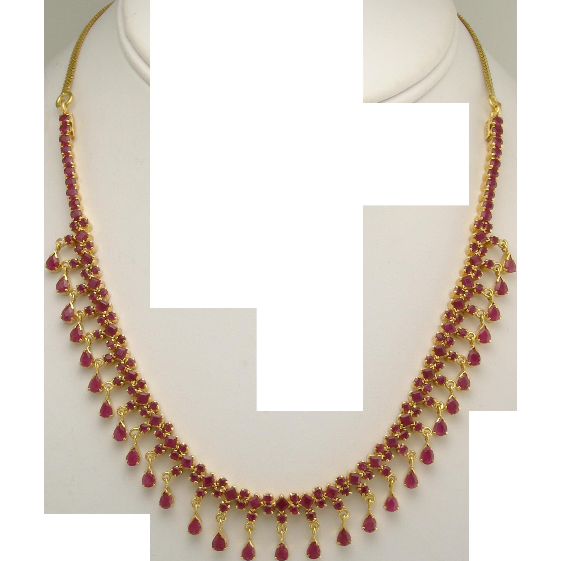 Vintage Ruby 22k Gold Fringe Necklace