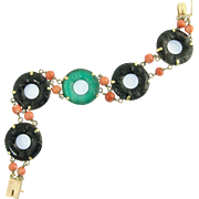 Spicy Art Deco Carved Black and Green Onyx and Coral Bracelet in 14k