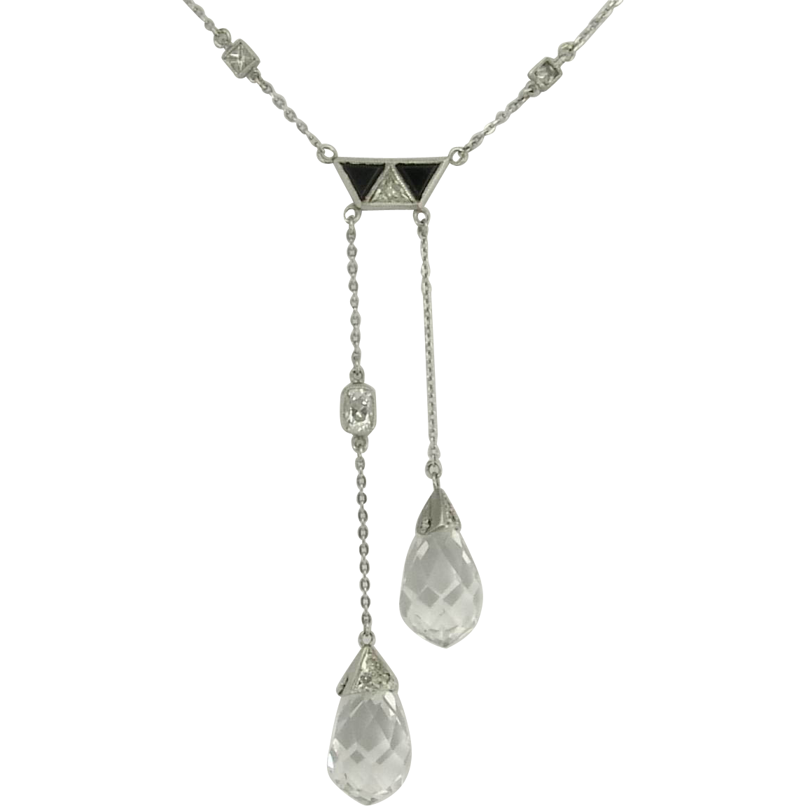 Sublime Art Deco Rock Crystal Old Cut Diamond and Onyx Negligee Necklace in Platinum