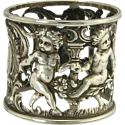 Charming Dancing Cherub Sterling Silver Art Nouveau Napkin Ring