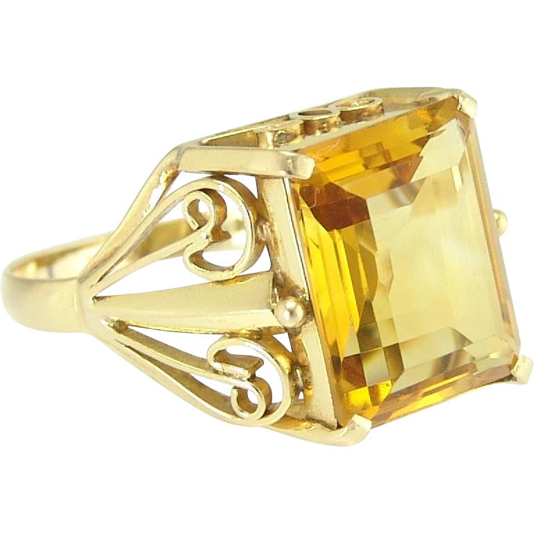 Vintage Retro Step Cut Citrine 18k Gold Ring