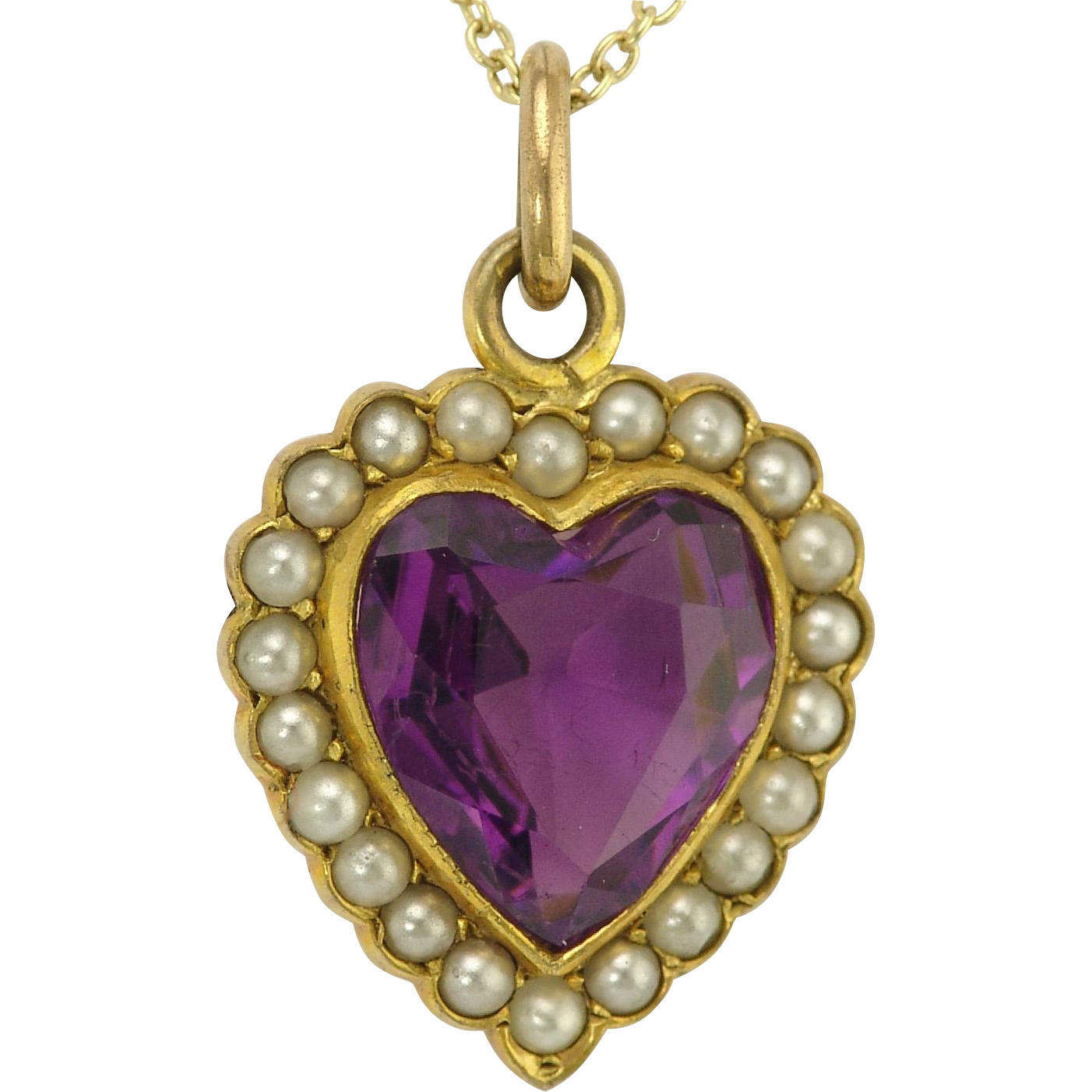 Romantic Antique Amethyst Pearl 14k Gold Heart Pendant