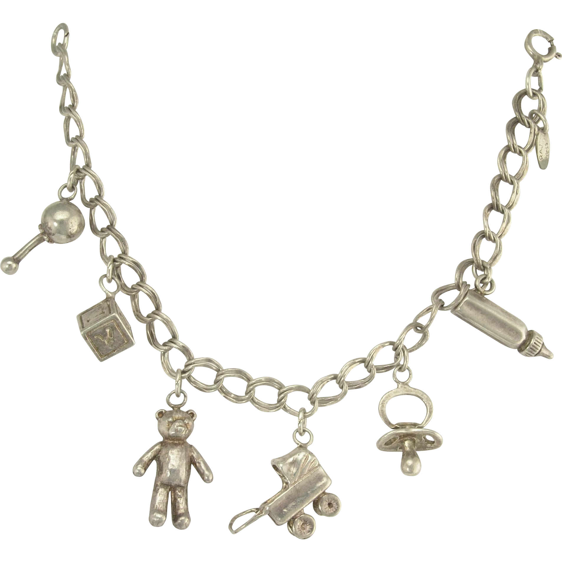 Vintage Sterling Silver Figural Baby Themed Charm Bracelet Bear Block Bottle Rattle Carriage Pacifier