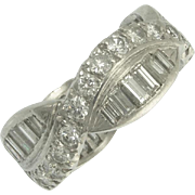 Vintage Diamond Platinum Eternity Band Ring - Video