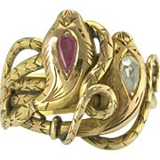 Antique Victorian Figural Diamond Ruby 18k Gold Double Snake Ring