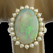 Large Vintage Australian Opal Pearl 14k Gold Ring - Mintabie