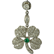 Vintage Figural Diamond Emerald Platinum Shamrock Four Leaf Clover Pendant Earrings - Video