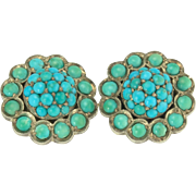 Striking Victorian Bi-Color Turquoise Earrings in 14k Gold and Silver