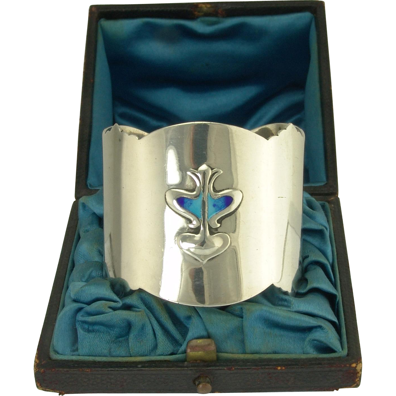 Wonderful Enamel Arts and Crafts Sterling Napkin Ring in Original Box