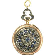 Charming Early Victorian Sapphire and Rose Cut Diamond Pocket Watch in Silver and 18k Rose Gold