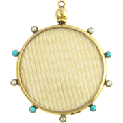 Charming 2-sided Victorian Turquoise and Pearl Locket in 9ct Gold