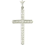 Vintage Art Deco Diamond Platinum Cross Pendant