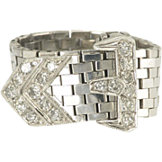 Chic Retro Diamond Articulated Buckle Ring in 14k White Gold