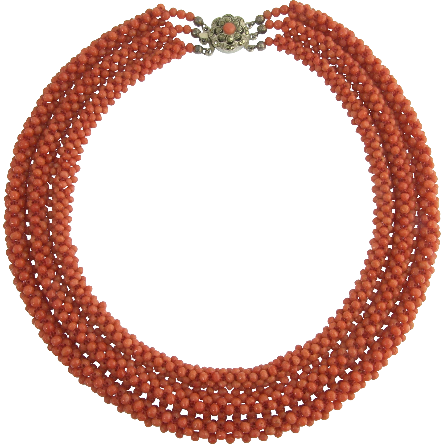 Amazing Victorian Graduated Woven Coral Bead Necklace