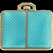 Beautiful Art Deco Blue Guilloche Enamel Juvenia Travel Clock in Sterling Silver