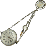 Unusual  Vintage Charles Oudin of Paris Rock Crystal Key Wind Watch with Pin and Key in Sterling Silver