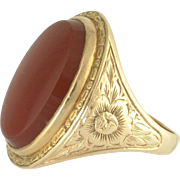 Art Deco Carnelian Engraved 14k Yellow Gold Ring