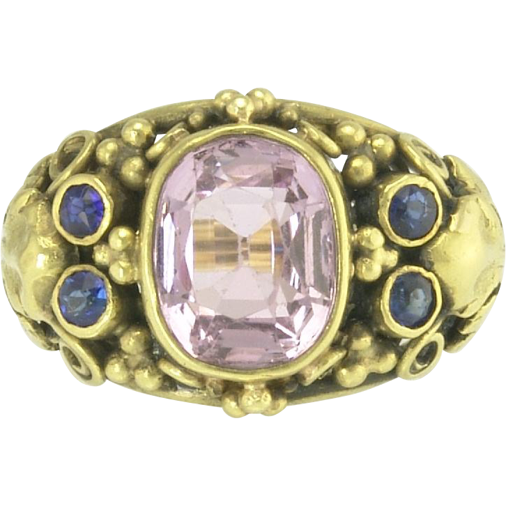 Beautiful Arts and Crafts Pink Tourmaline and Sapphire Ring in 18k