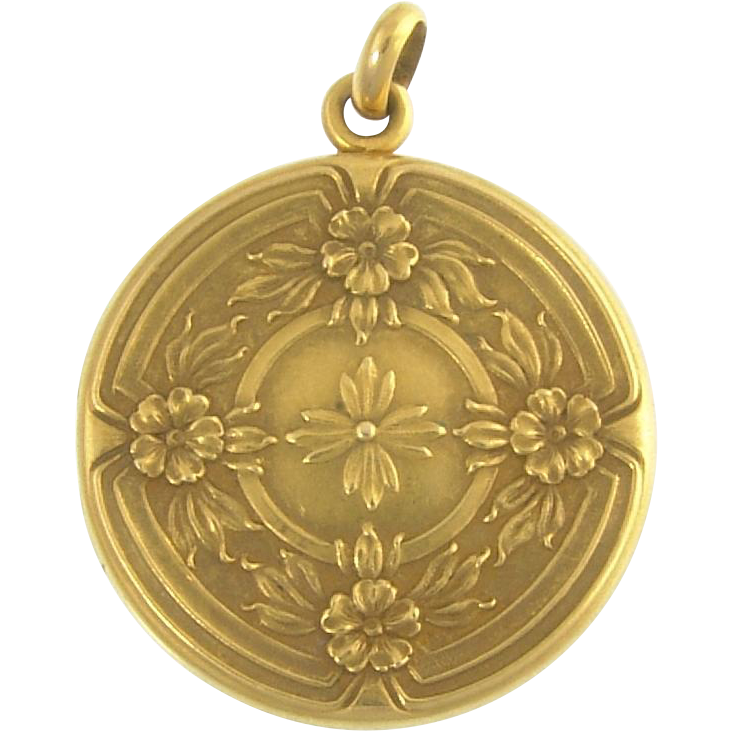 Antique Edwardian Wordley Allsop Bliss 14k Gold Floral Flower Locket Newark