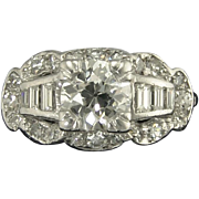 Vintage Art Deco 0.99ct Old European Cut Diamond Center VS2 HI Engagement Wedding Ring - Video