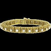 Vintage Hammerman Brothers Diamond 18k Gold Line Tennis Bracelet - Designer Signed