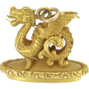 Antique Figural Dragon Watch Fob Pendant in 14k Gold Repousse