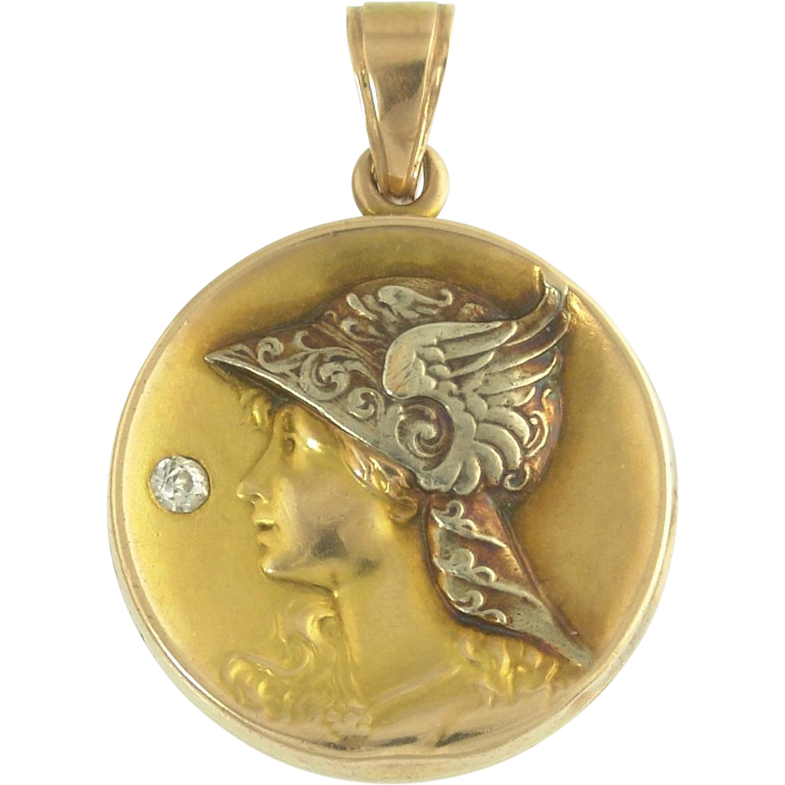 Spirited Diamond Art Nouveau Locket of Mercury in Bi-Color 14k Gold