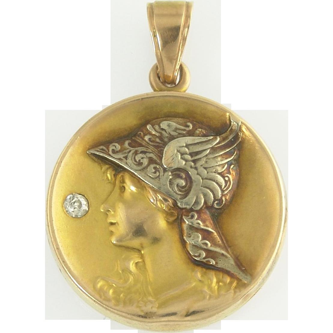Spirited Diamond Art Nouveau Locket of Mercury in Bi-Color 14k Gold