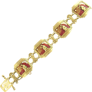 Dramatic Vintage Figural Aztec Red White Black and Green  Enamel Link Bracelet in 18k