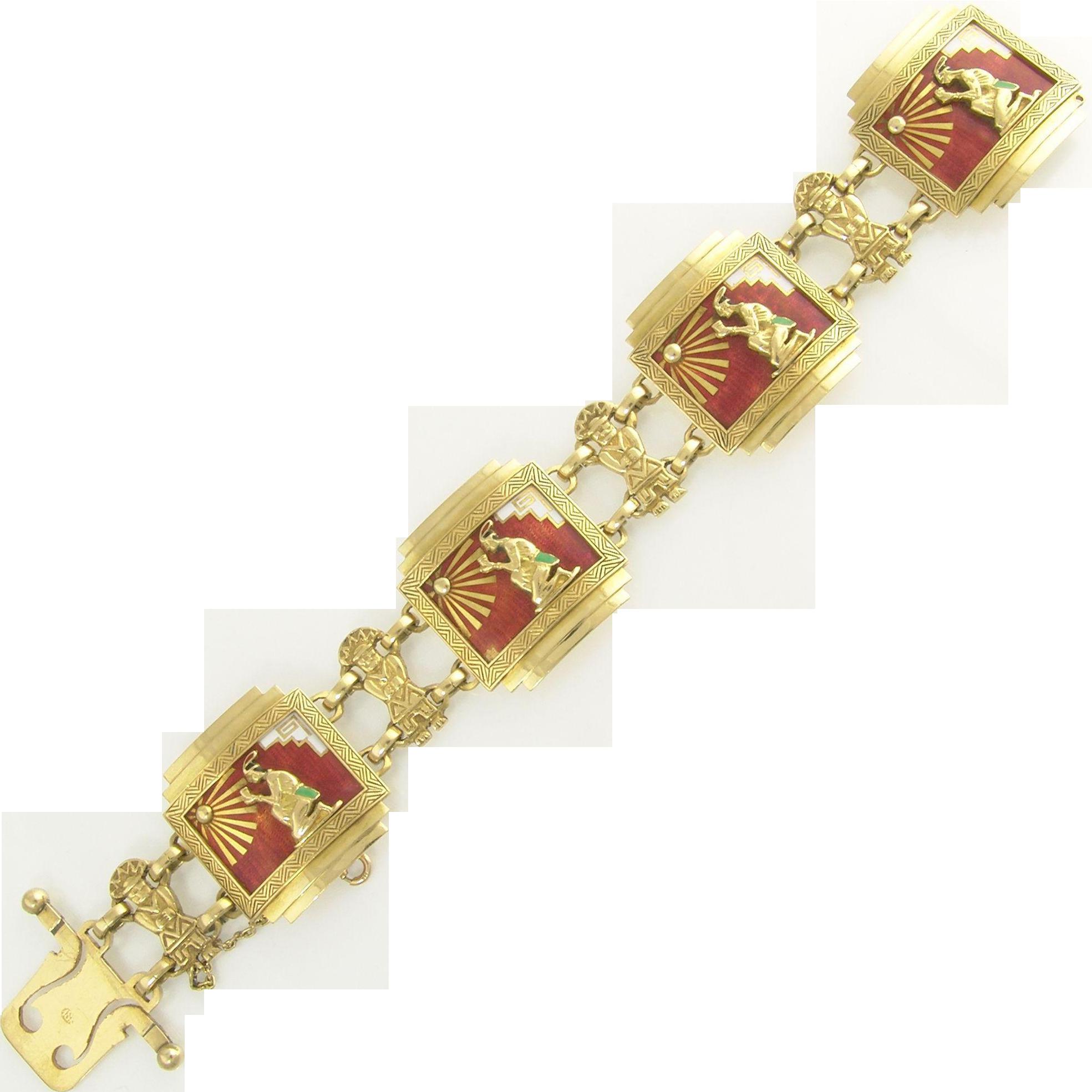 Dramatic Vintage Figural Aztec Red White Black and Green  Enamel Link Bracelet in 18k